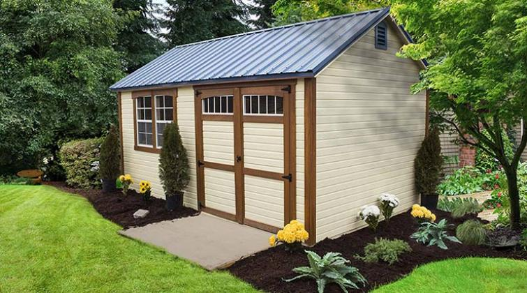 Zook cream dutchlap siding Garden Shed