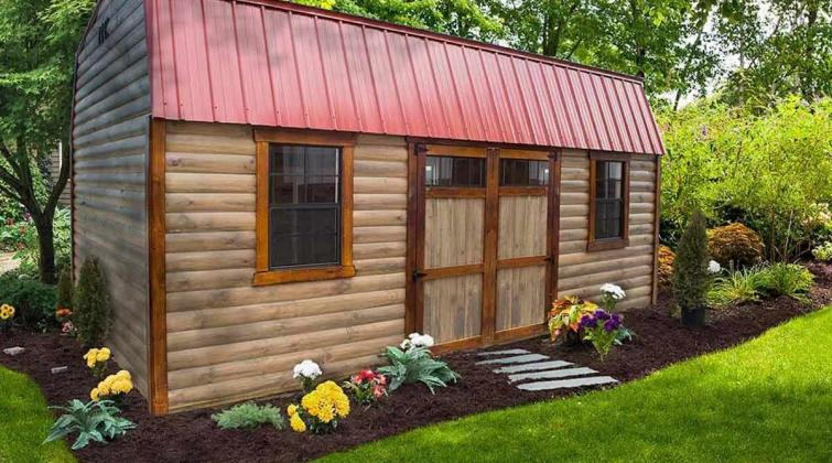 High Barn w/ Smoke stain color Half log siding